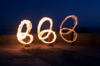 Fire Spinners at Ocean Beach, Three-Kidney Formation, 1 July 2011