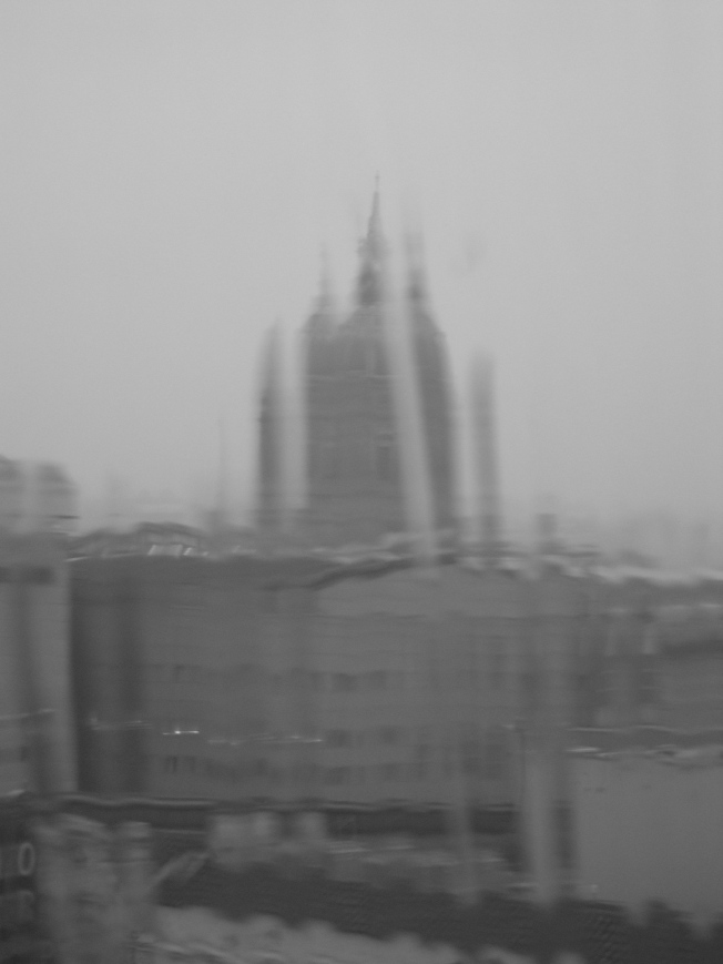 City Hall During a River of Rain, Black & White