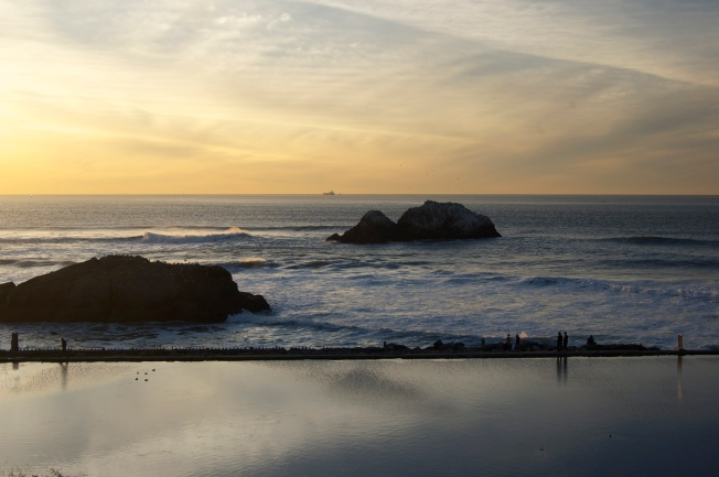 Freighter on the Horizon at Sunset, Sutro Baths, San Francisco, California 21 January 2013