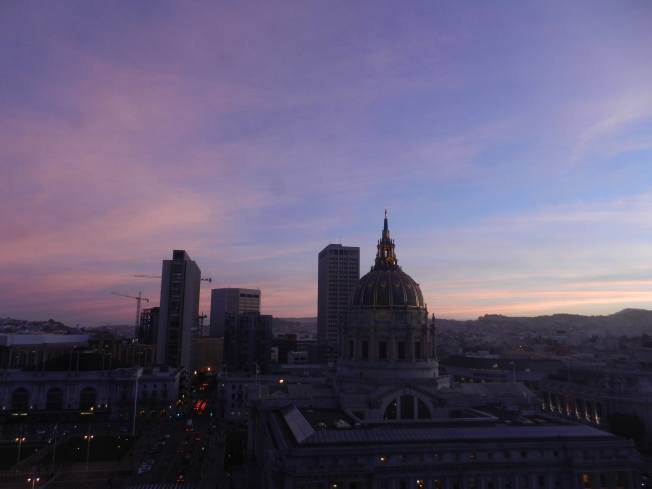 Sunset over San Francisco City Hall; View from 12th Floor, SFPUC Headquarters, 29 January 2013Still awaiting the perfect sunset for this picture, will have to settle for this one, for now.