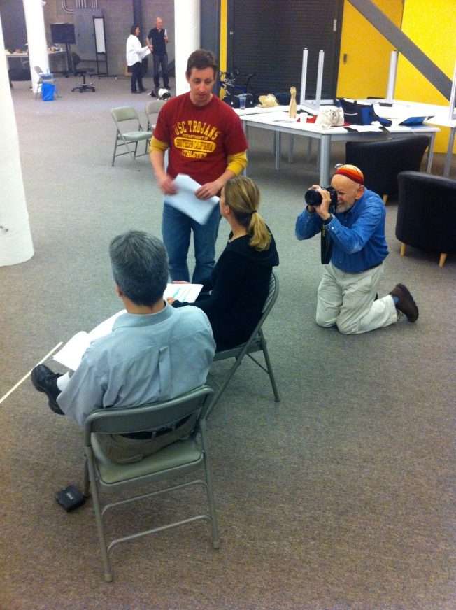 Photographing the Rehearsal of My Play Le Bistro de la Verite, 2012.