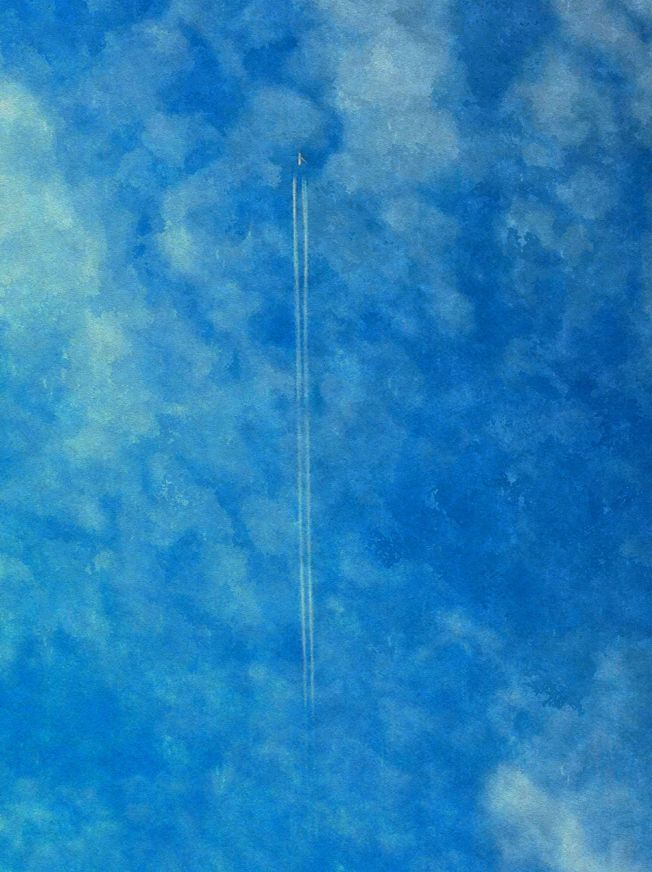 White & Blue Series: Jet Trails, 3 January 2013. Sketcher Settings Watercolor-20-100-100-10-None-Watercolor Paper