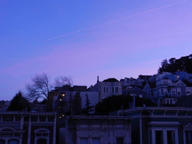 Jet Trail Against the Sunset, San Francisco, California, 23 February 2013