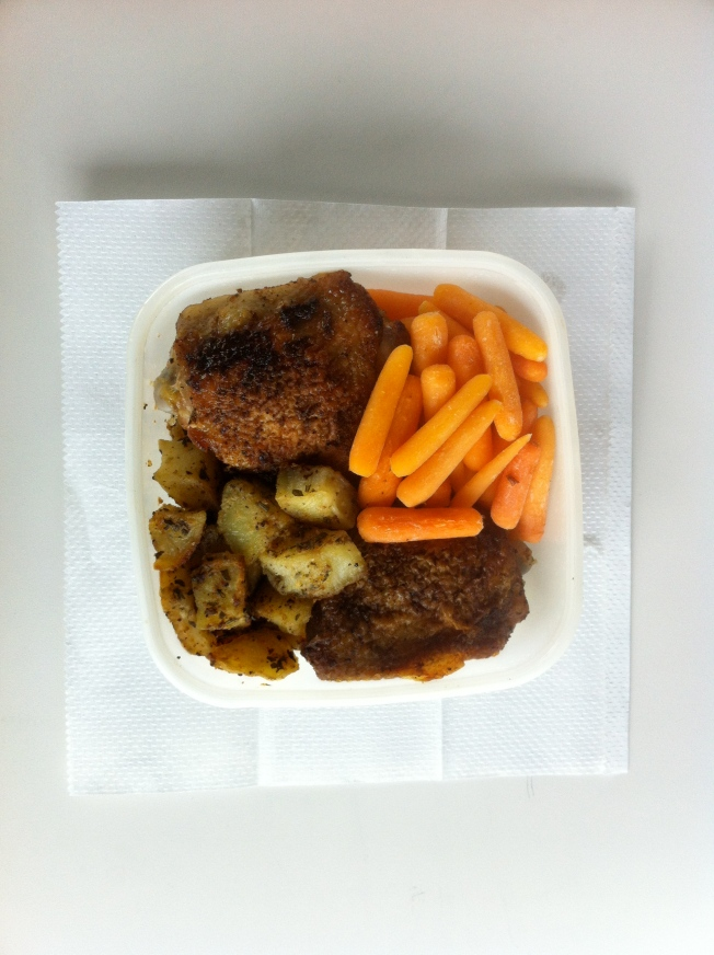Pan-Roasted Chicken Thighs with Cumin, Potatoes Roasted with Rosemary and Sage, Carrots