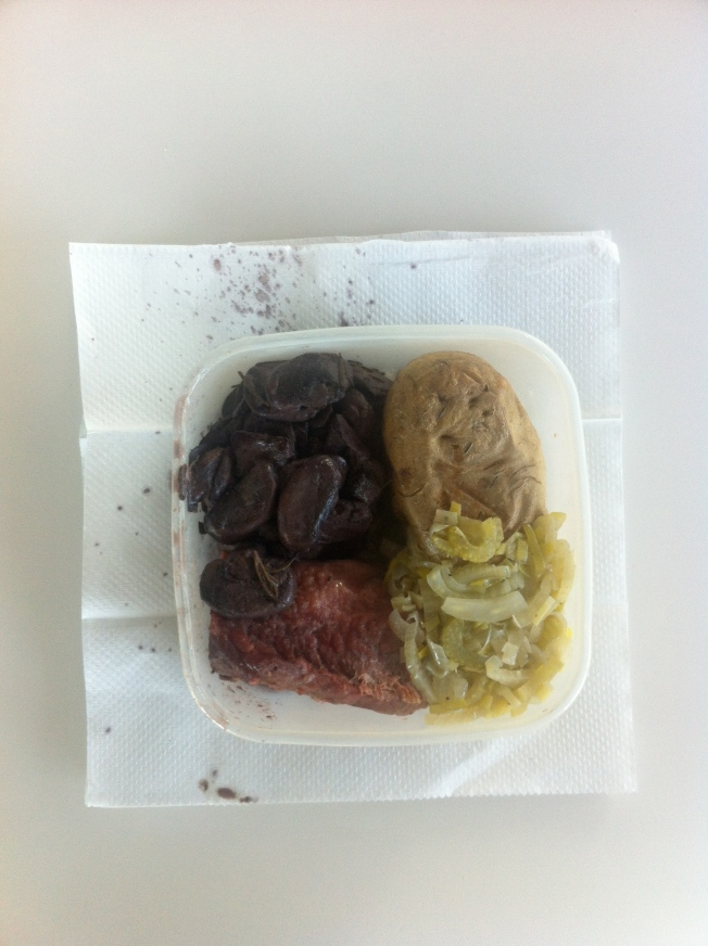 Corned Beef; Baked Potato; Mushrooms in Red Wine, Mustard and Rosemary Sauce; Fennel, Leeks and Celery Sauteed in White Wine and Butter