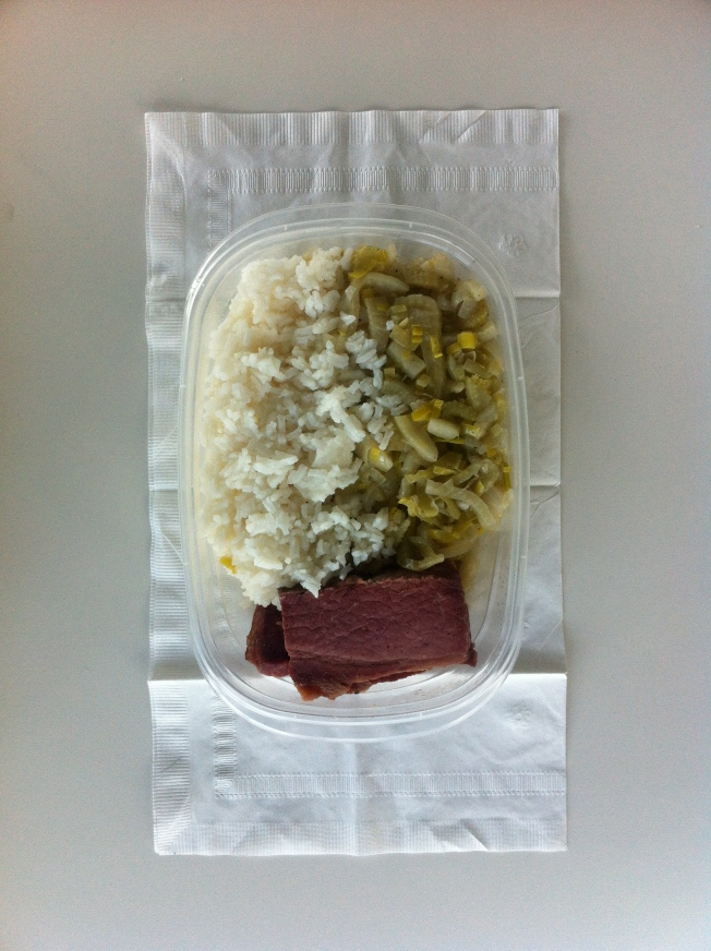 Corned Beef; Fennel, Leeks and Celery; White Rice
