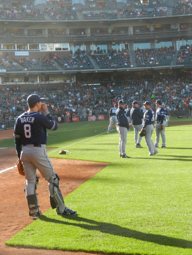 The San Diego Padres Warming Up for the Game