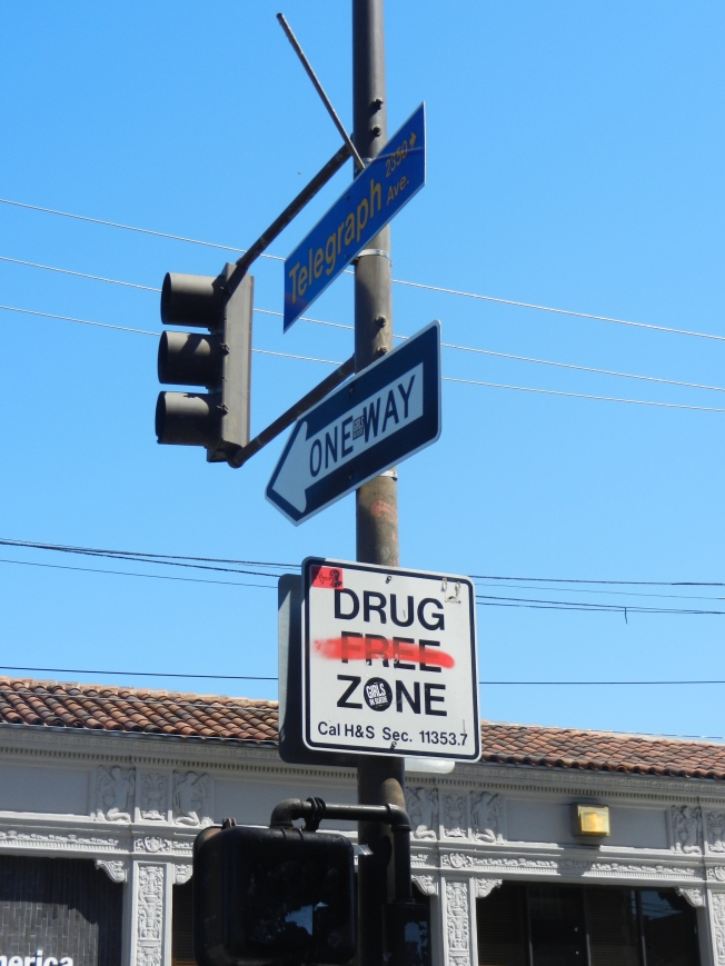 One Way/Drug Free (?) Zone, Berkeley, California, 20 May 2013