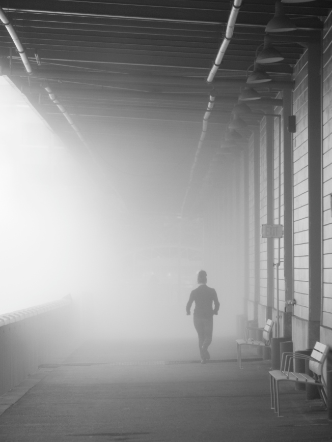 Jogger Running Through the Artificial Fog at the Exploratorium, San Francisco, 6 June 2013