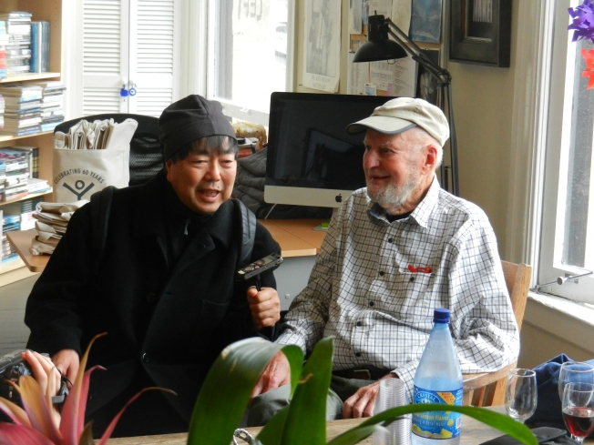 Lawrence Ferlinghetti on the Right (for Once), with an Unknown Interviewer, 23 June 2013