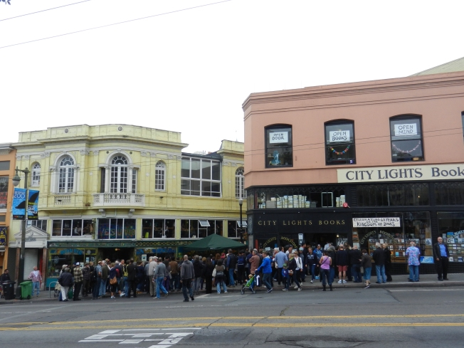 City Lights Bookstore During the Celebration, 23 June 2013 (Vesuvio Bar in Yellow, Jack Kerouac Alley in Between)