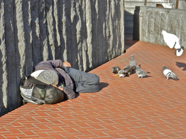 Homeless Man Watching the Pigeons He's Feeding, Powell & Market, San Francisco