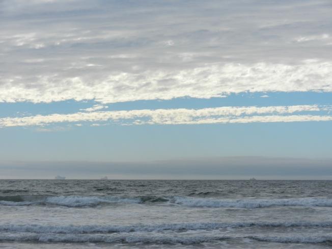 Three Freighters, One Fog Bank, Ocean Beach, San Francisco 1 Sept 2013