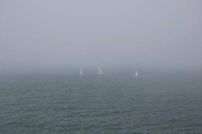 Grey Series: Three Sailboats Past Land's End, San Francisco, CA 083113