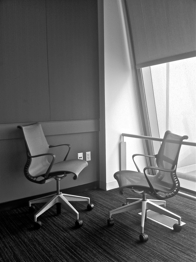 Who was here and what did they discuss? Judging from the chairs, I would say one was a foot taller than the other, and they sat close to each other and practically whispered. I suspect the conversation was both quiet and intense.
