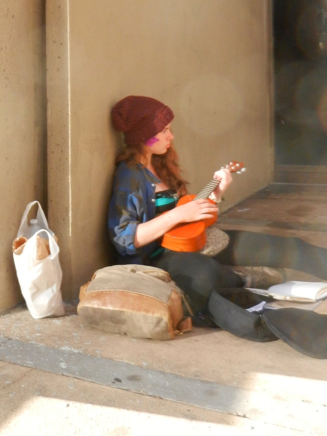 Mandolin Player with Groceries, Market Street, San Francisco