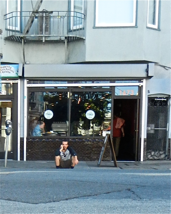 Phone Call on the Curb, Haight Street, 5 October 2013