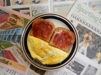 Omelet with Piave Vecchio DOP, Seasoned with Sea Salt, Pepper, Garlic, Rosemary, Sage