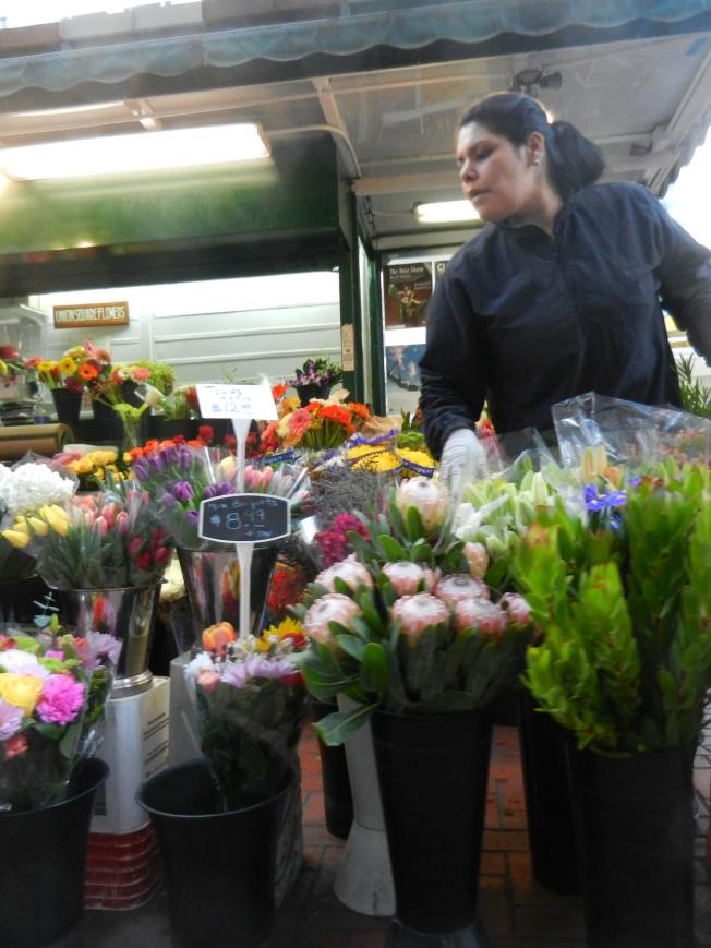Flower Vendor, 4th & Market Streets, San Francisco 10 October 2013