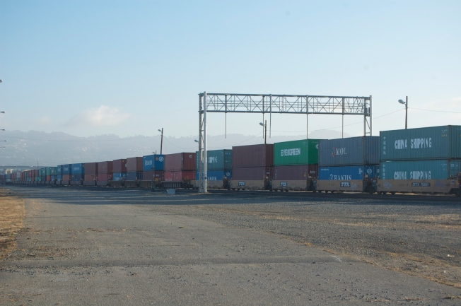 Train Bearing Miles of Double-Stacked Containers, West Oakland, CA 16 November 2013