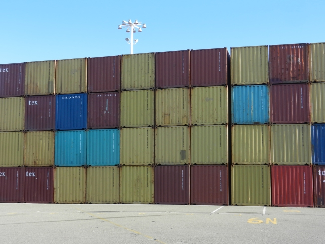 Yellow, Red & Blue, Port of Oakland, 16 November 2013