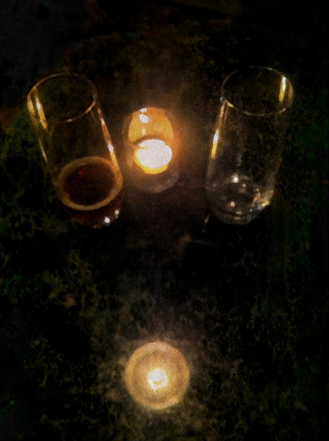 Glasses, Candle, Reflection.