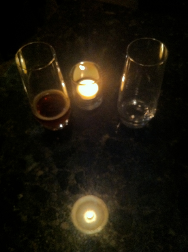 Glasses, Candle, Reflection Upon Black Marble, Una Pizza Napoletana, San Francisco, 30 November 2013