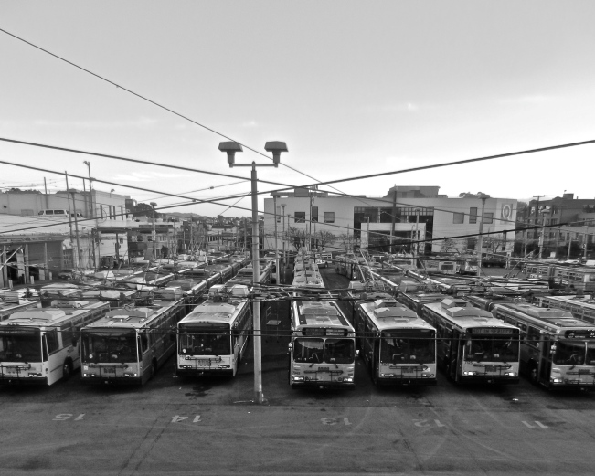 Muni Bus Yard at Sunset, San Francisco, California, 7 March 2014