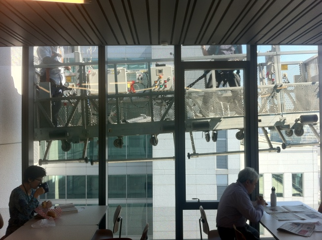 Roofers on the 12th Floor During Lunch, SFPUC Headquarters, San Francisco