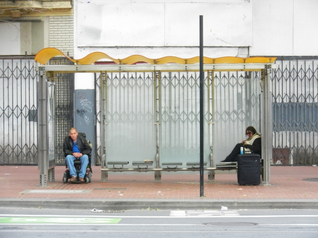 Waiting for the Bus, Market Between 5th & 6th Streets, San Francisco