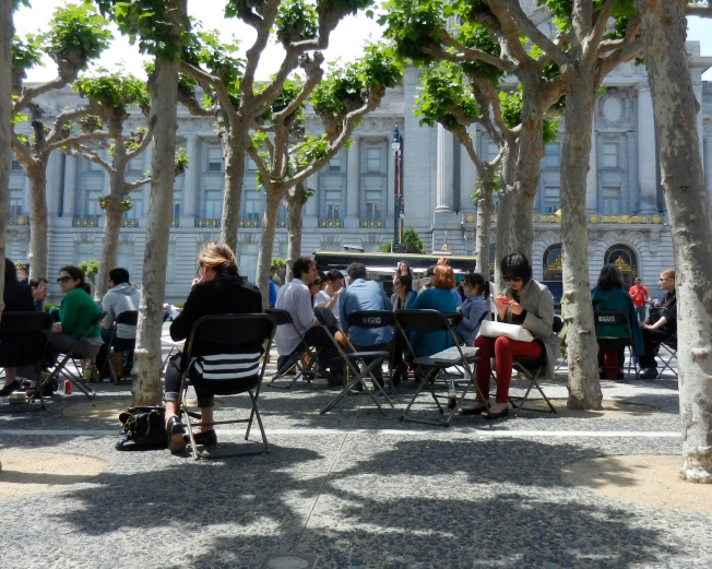Eating Lunch Near the Food Trucks, Civic Center, San Francisco, 2 May 2014