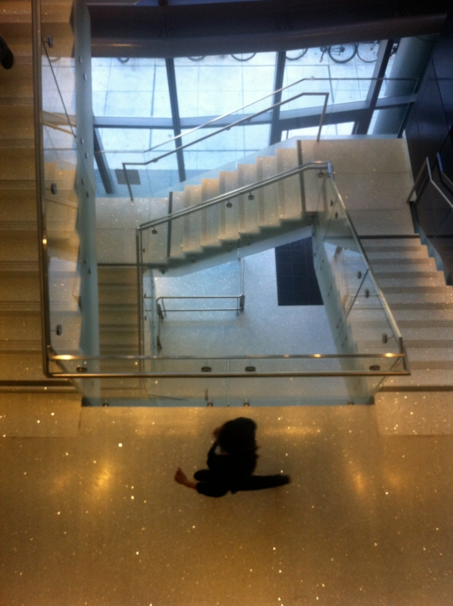 Co-Worker Finishing Her Morning Stair Exercise.