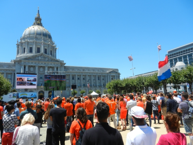 San Francisco Civic Center during the 2014 World Cup Semifinal Game Between Argentine and the Netherlands. Note how well camouflaged the Dutch fans appear, cleverly donning the Alert Orange color of the San Francisco Giants.