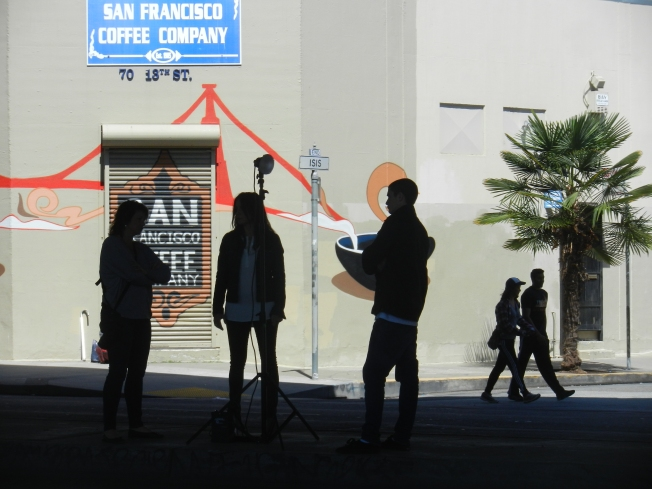 Two Photographers & One Model, 13th Street, San Francisco, 16 August 2014