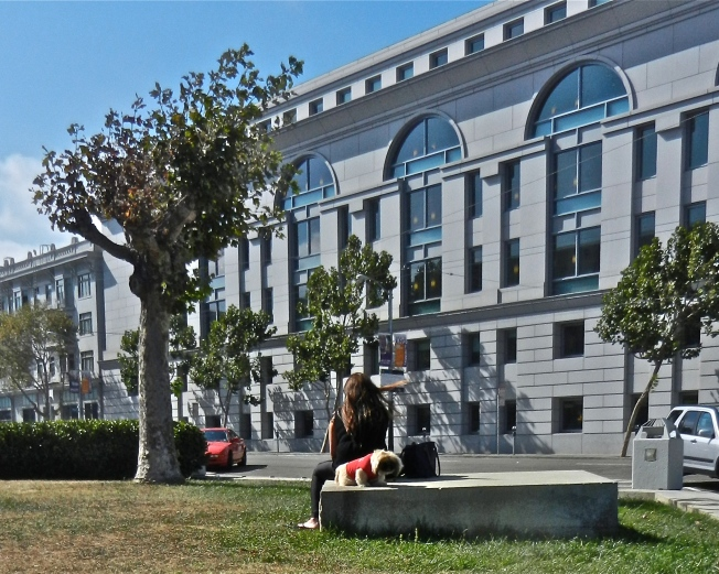 Woman & Dog, San Francisco Civic Center, 5 September 2014