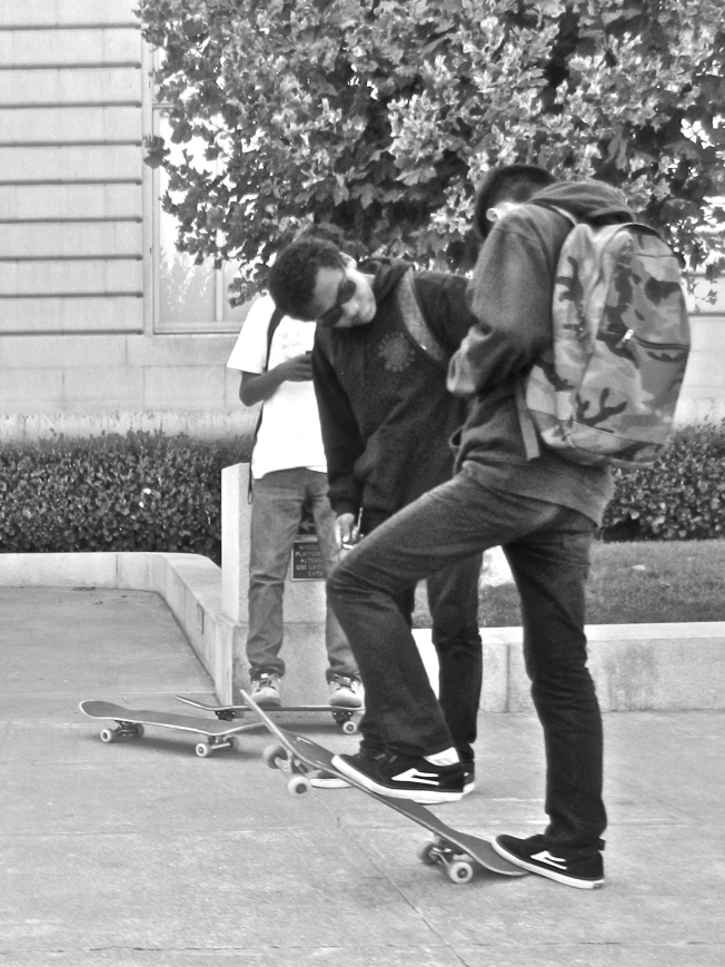 Skateboarders in Front of City Hall, San Francisco, California, 5 September 2014
