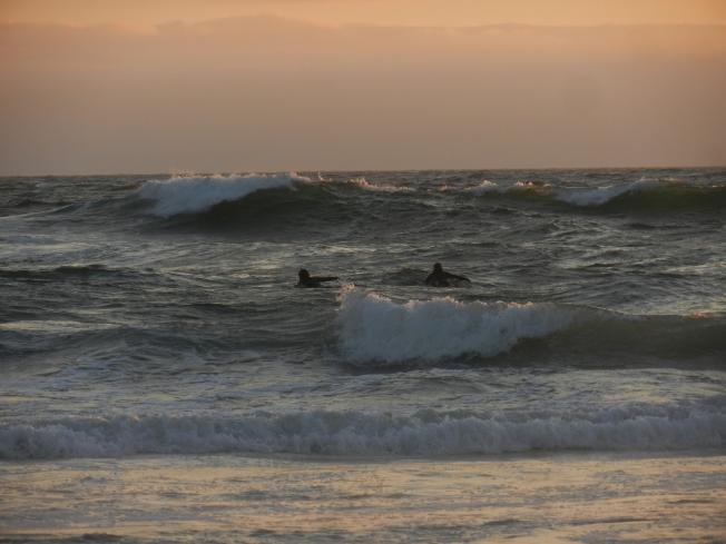 Surfers at Ocean Beach, Sunset, 8 August 2014