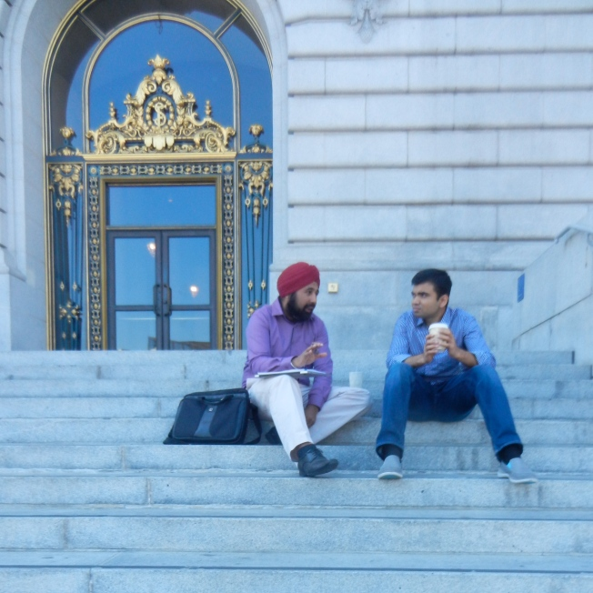 Discussing Politics on the City Hall Steps, San Francisco