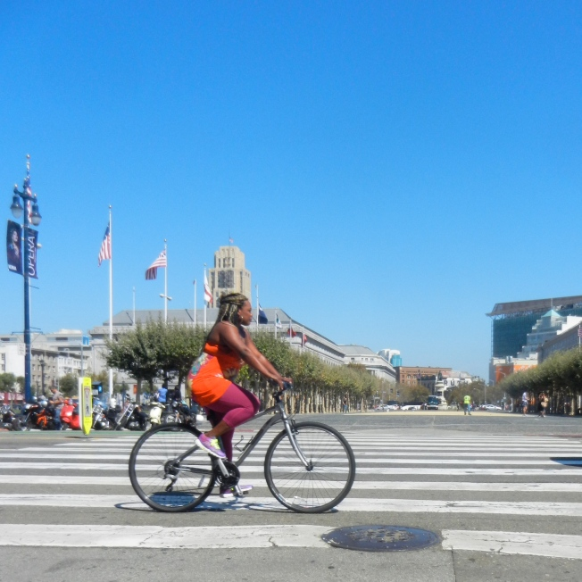 Bicyclist in Front of City Hall, San Francisco