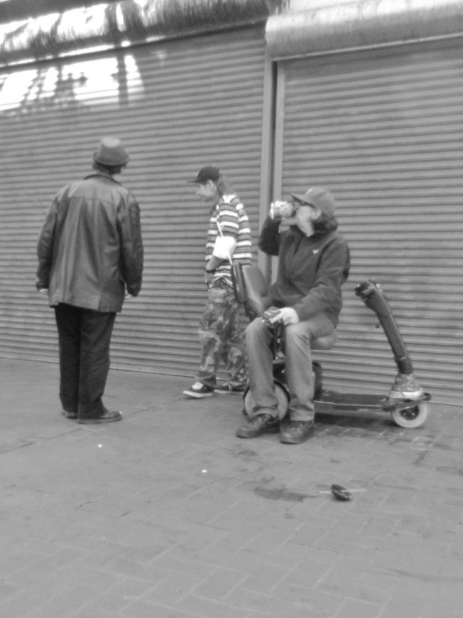 Three Men & a Scooter, Market Near 6th Street, San Francisco