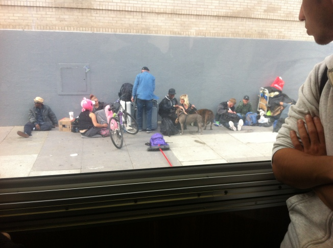 "Homeless ""Family,"" Hayes Street Behind Civic Center"