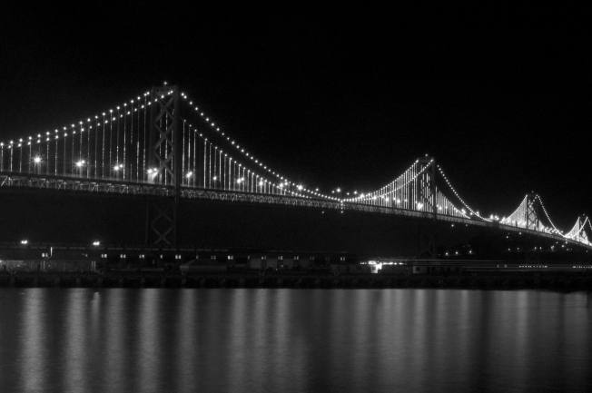 WP SF Noir Bay Bridge B&W