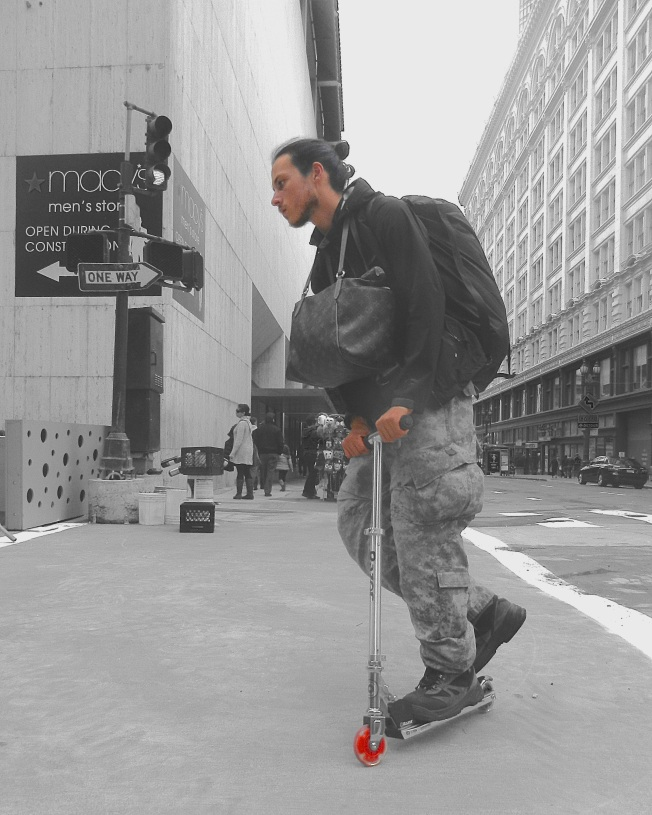 Scooter, San Francisco, California, 29 November 2014; Color Splash Studio Edit