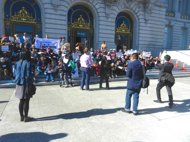 Free Muni Protest, San Francisco, 20 January 2015.