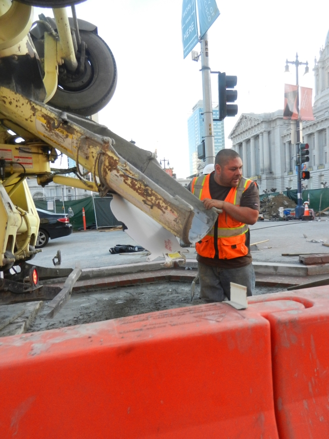 Pouring Cement at the Civic Center, San Francisco, California