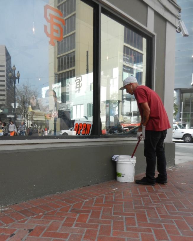 Window Washer, Market & Polk, San Francisco, California