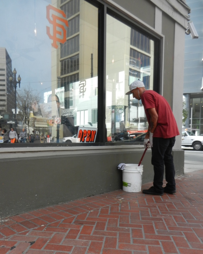 Window Washer, Market & Polk, San Francisco, California