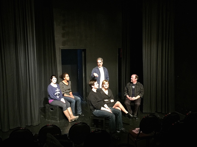 "Rehearsing ""Keeping You Man in Line on the 21-Hayes."" Left to right: Sarah Leight, Jocelyn Truitt, Philip Goleman, Colin Hussey (standing), Sarah Galarneau, Richard Wenzel."