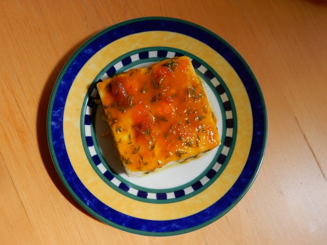 Feta with Honey-Apricot-Mustard-Thyme Glaze.