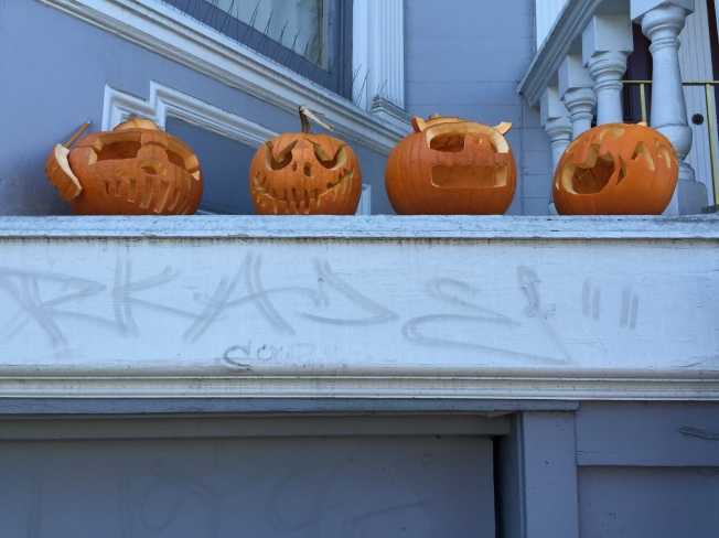 "Jack O'Lanterns, 25 October 2015. Note the one on the far left with the ""cell phone."""